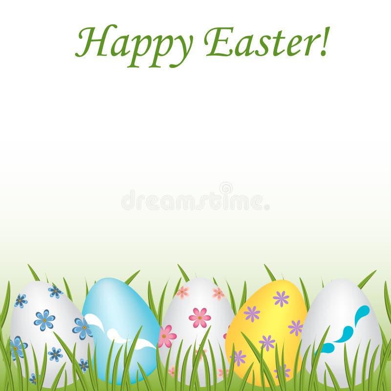 Páscoa feliz colorida, ovos modelados diferentes no gra verde ilustração royalty free