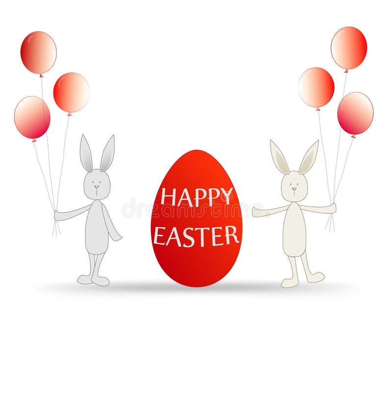 Páscoa feliz da ilustração - ovo e coelhos vermelhos com balões ilustração stock
