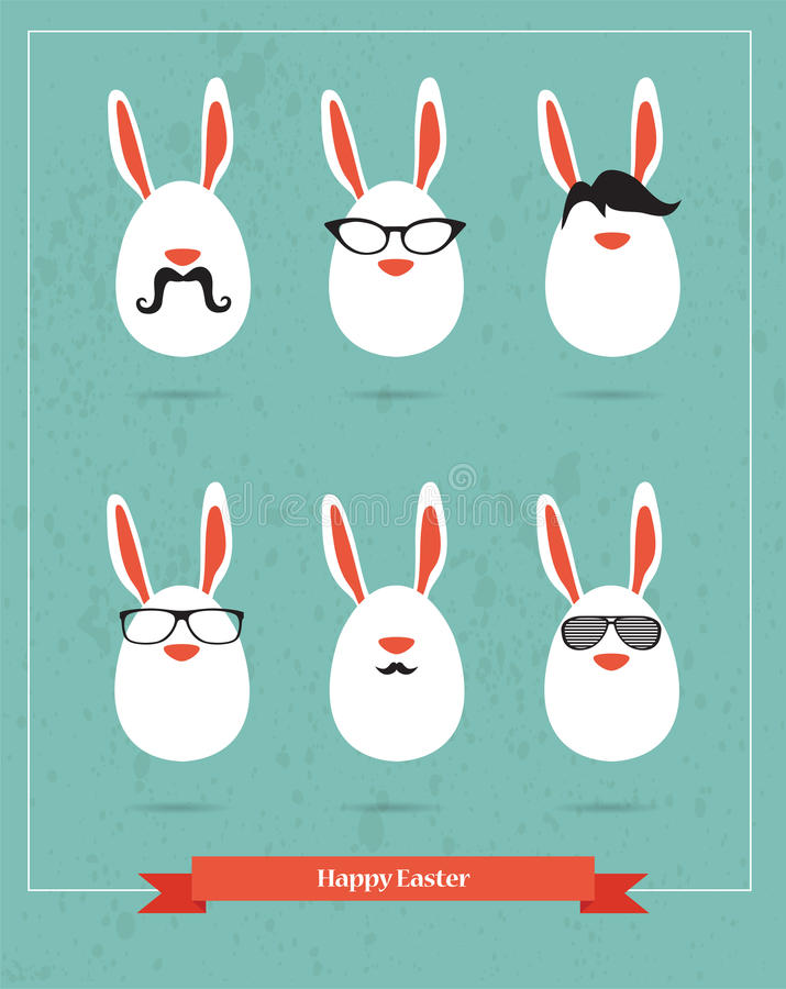 Páscoa feliz do moderno - grupo de ícones à moda do COELHO ilustração stock