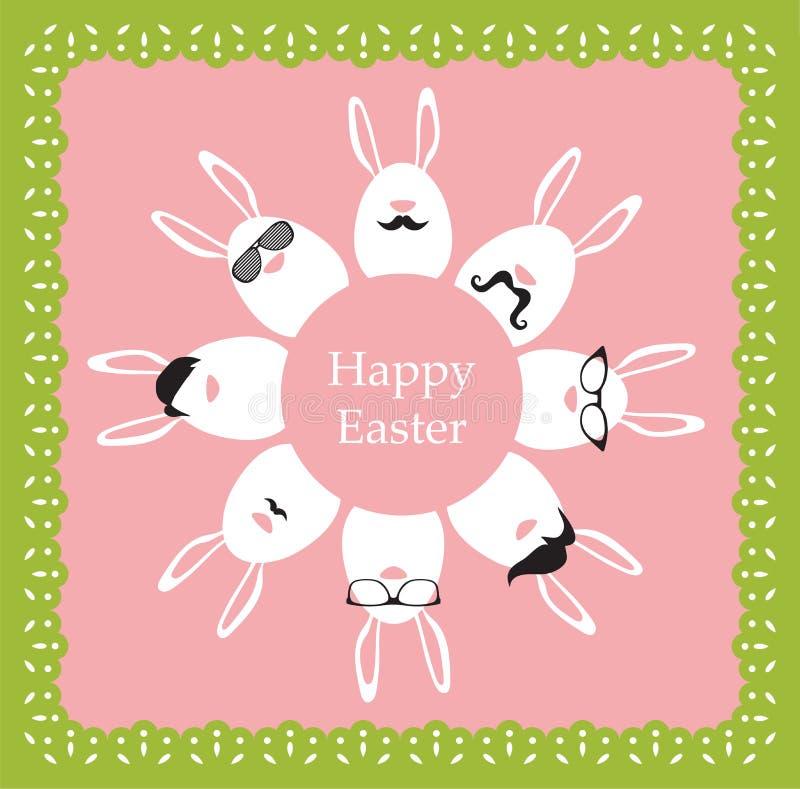 Páscoa feliz do moderno - grupo de ícones à moda do coelho/ovos. ilustração do vetor