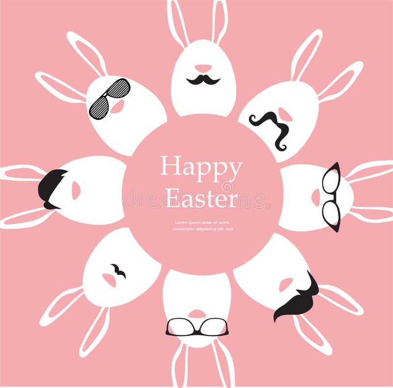 Páscoa feliz do moderno - grupo de ícones à moda do coelho/ovos ilustração royalty free