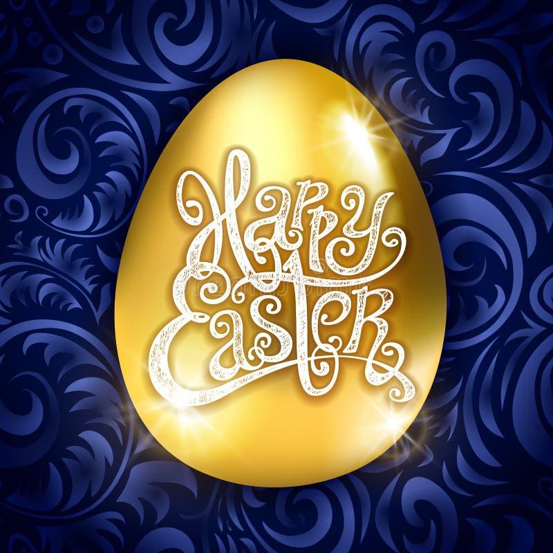 Páscoa feliz do ovo dourado com ilustração floral do vetor do teste padrão do fundo azul decorativo Arte ilustração royalty free