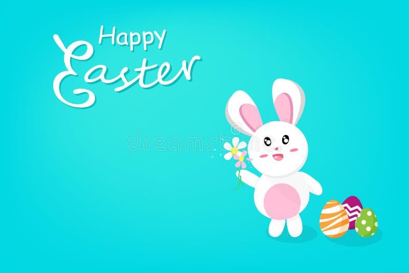 Páscoa feliz, flor bonito da terra arrendada do coelho com fantasia do ovo, feriado da estação da caligrafia, cartão do cartaz do ilustração stock