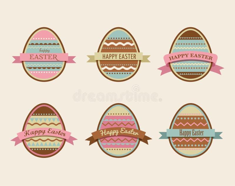 Páscoa feliz - grupo de ícones à moda dos ovos ilustração stock