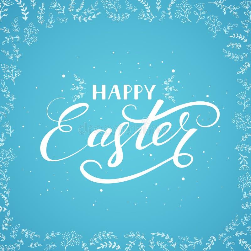 Páscoa feliz no fundo azul com elementos florais decorativos ilustração stock