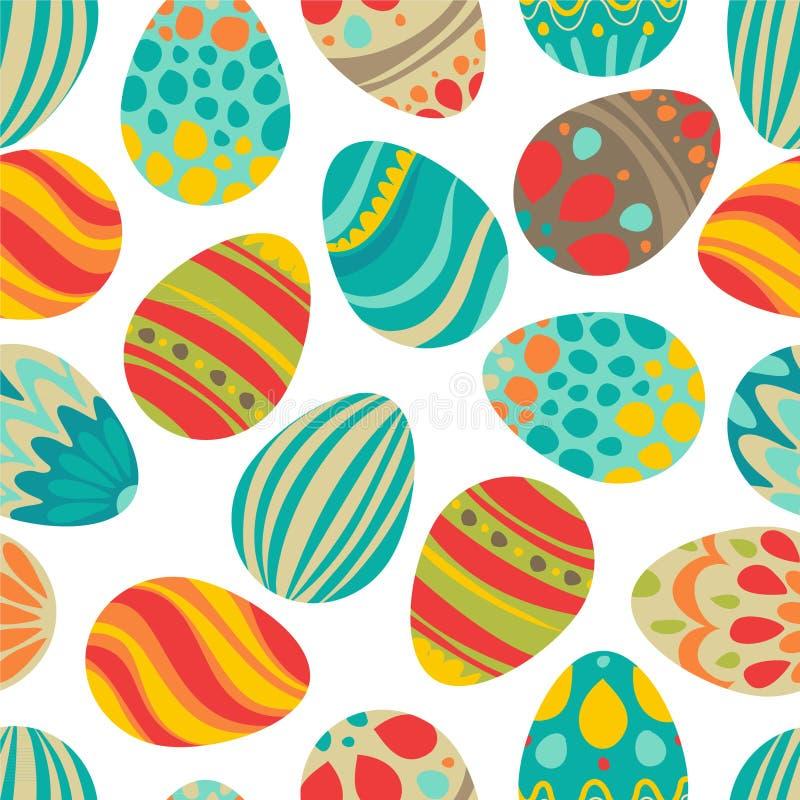 Páscoa feliz! O feriado feliz eggs o teste padrão, fundo sem emenda para seu projeto de cartão Ovos da páscoa decorados bonitos ilustração stock