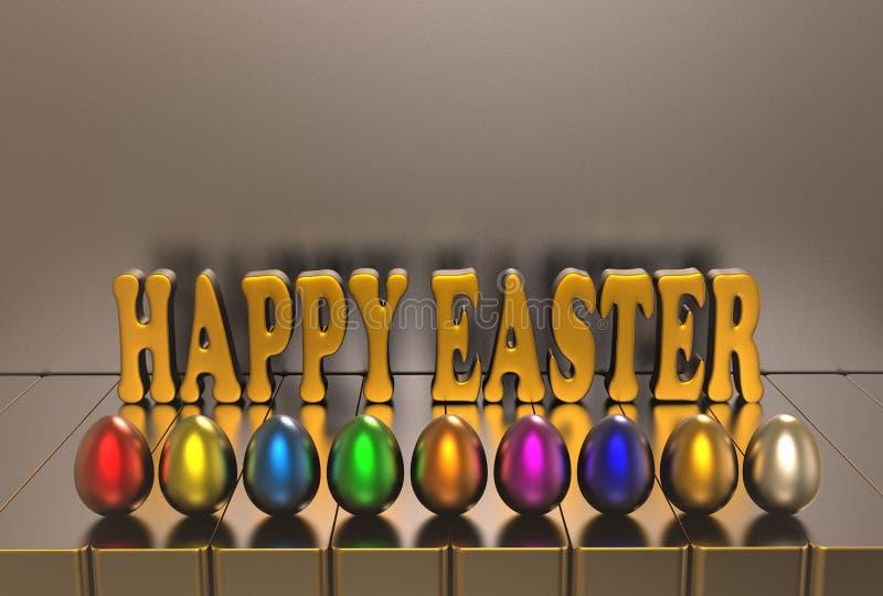 A Páscoa, os ovos coloridos e o texto do cumprimento em um fundo cinzento 3d rendem ilustração stock