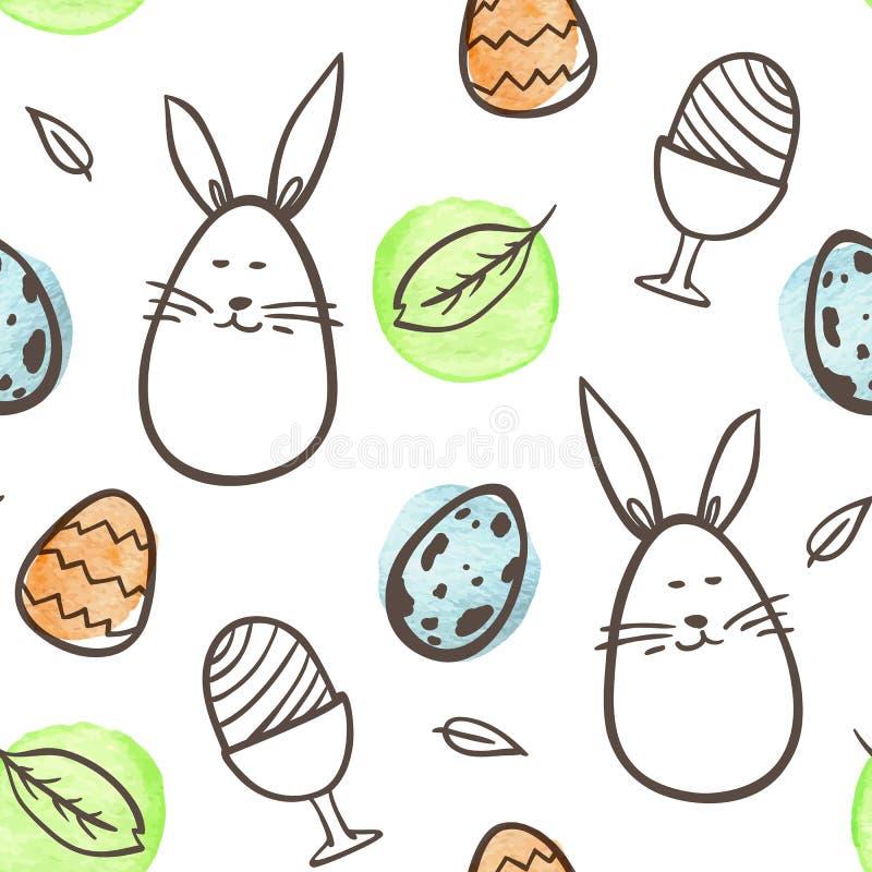 Páscoa sem emenda com coelho e ovos ilustração royalty free