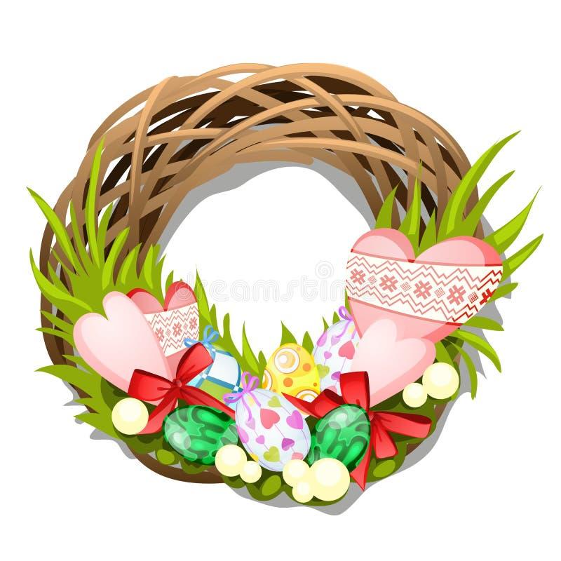 A Páscoa trançou a grinalda dos galhos com os ovos e os corações isolados no fundo branco Ilustração do close-up dos desenhos ani ilustração royalty free