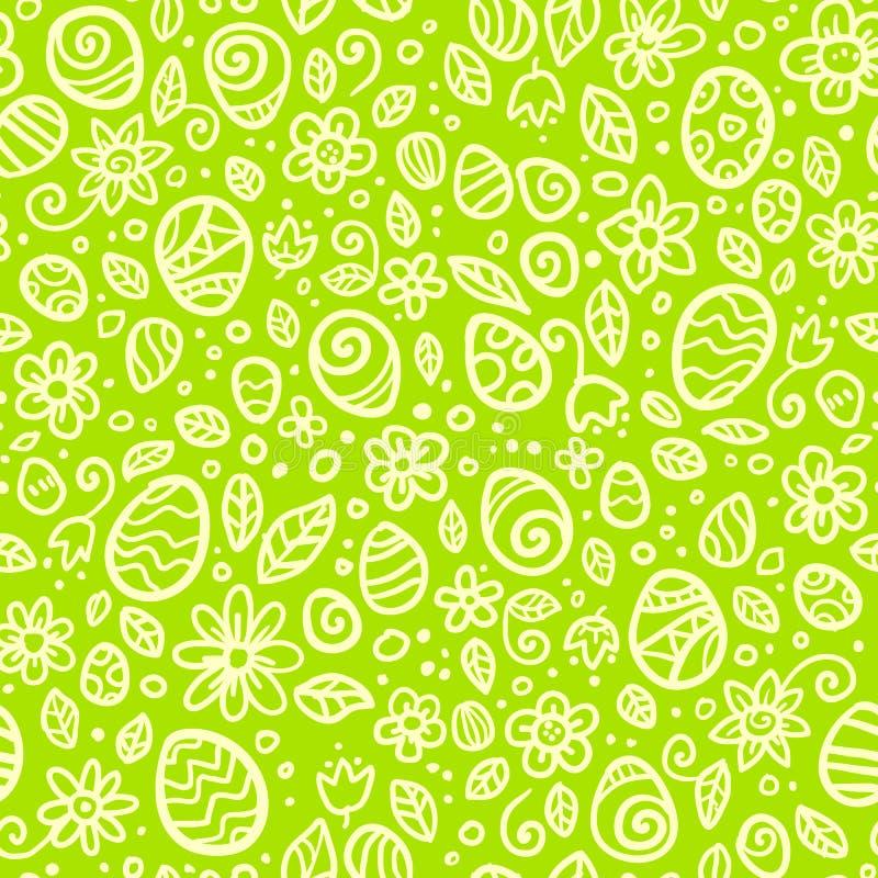 A Páscoa verde rabisca o teste padrão sem emenda do vetor ilustração stock