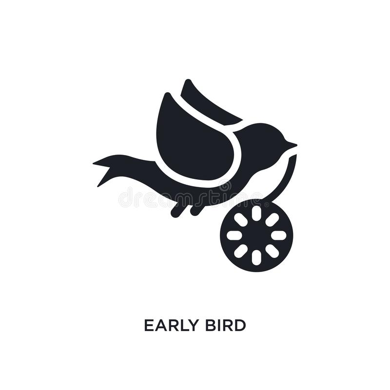 pássaro adiantado ícone isolado ilustração simples do elemento dos ícones crowdfunding do conceito projeto editável do símbolo do ilustração royalty free
