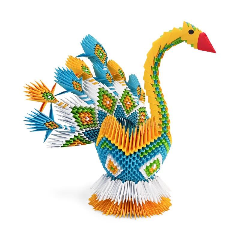 Pássaro Amarelo-azul de Origami foto de stock