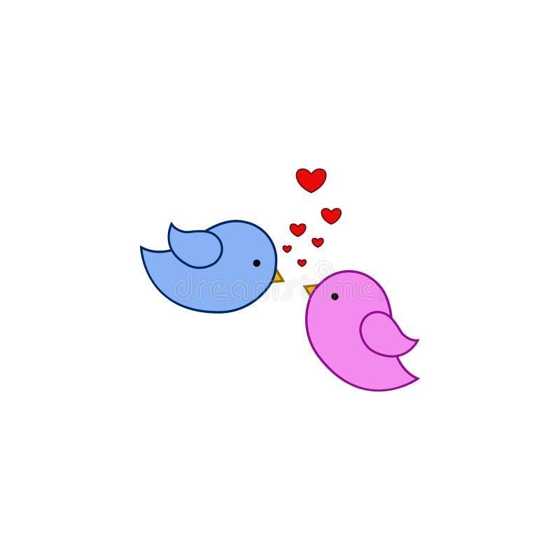Pássaro, amor, coração, ícone do dia dos valentine's Elemento do Valentim da cor \ 'do dia de s Ícone superior do projeto gráfi ilustração do vetor