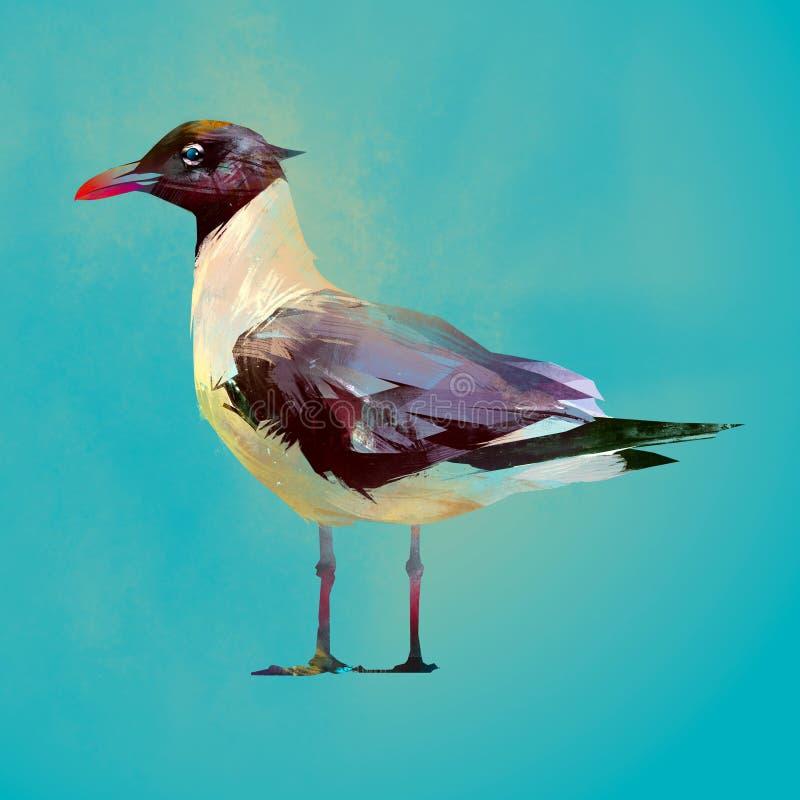Pássaro assentado cor pintado da gaivota ilustração royalty free