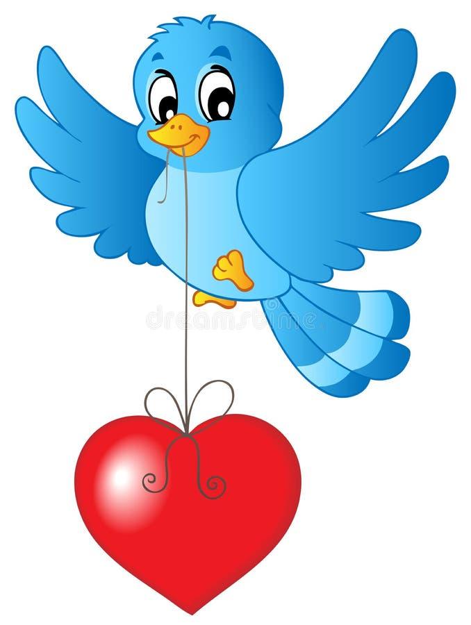 Pássaro azul com coração na corda ilustração stock