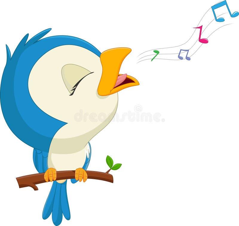 Pássaro azul dos desenhos animados que canta ilustração stock