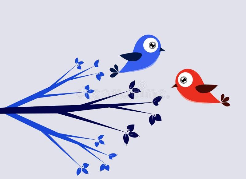 Pássaro azul e vermelho ilustração royalty free