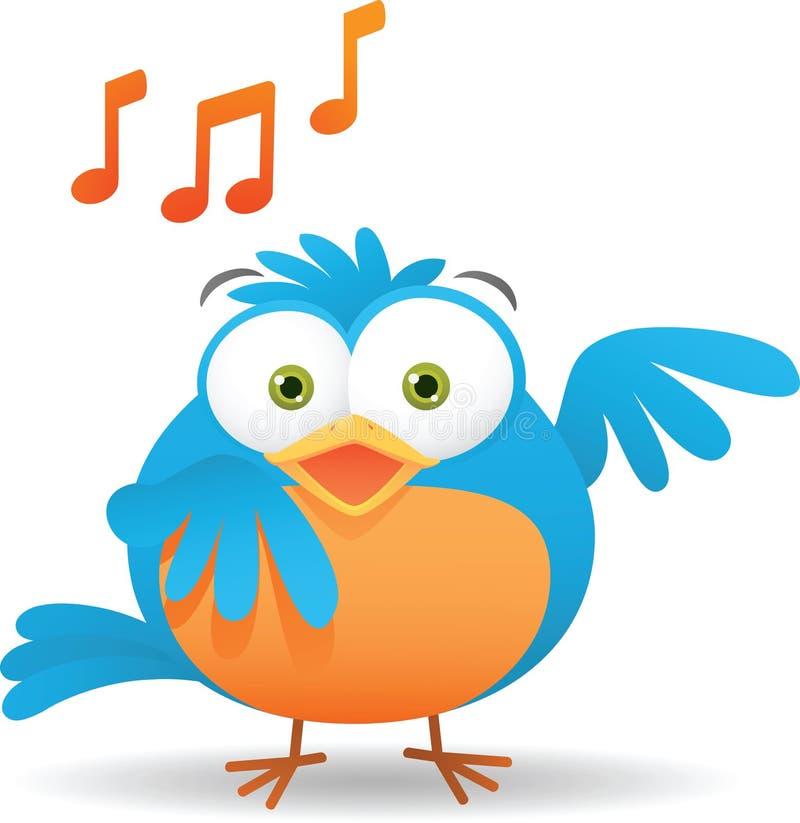 Pássaro azul que canta ilustração do vetor