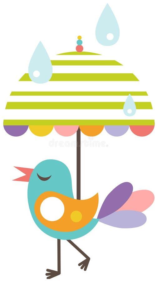 Pássaro bonito com guarda-chuva ilustração stock