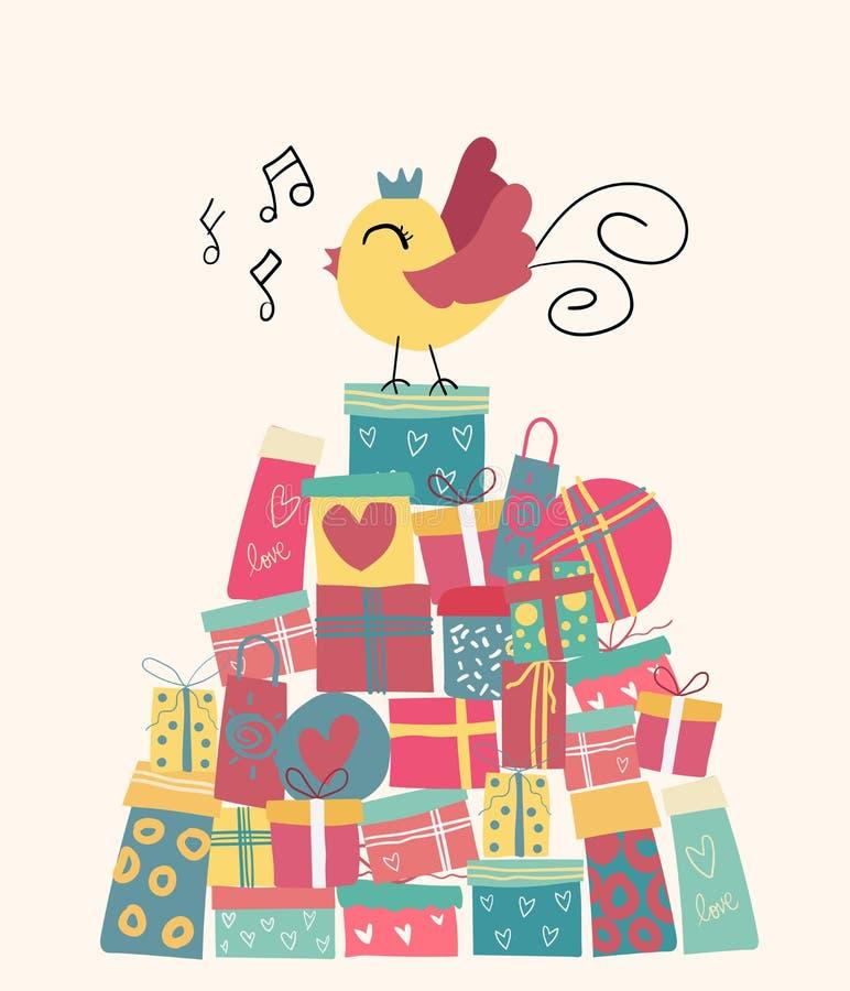 Pássaro bonito da garatuja na montanha atual das caixas ilustração royalty free