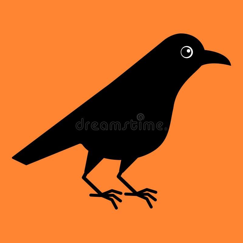 Pássaro bonito do corvo Corvo dos desenhos animados Ilustração do vetor de Kawaii no fundo alaranjado Partido de Halloween ilustração royalty free