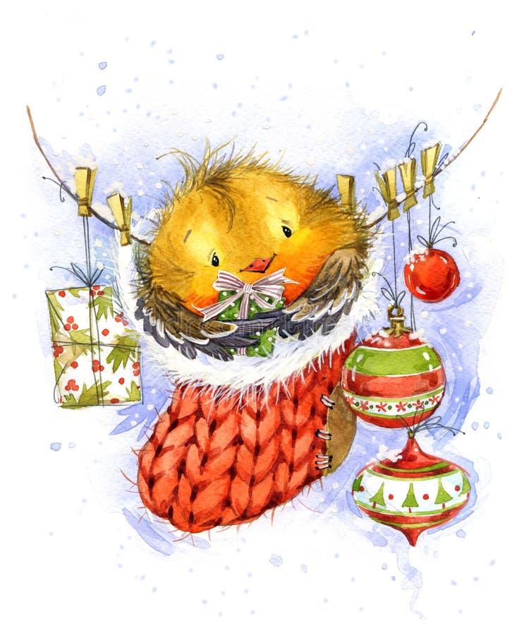 Pássaro bonito do inverno Cartão de Natal Llustration da aquarela do ano novo ilustração do vetor