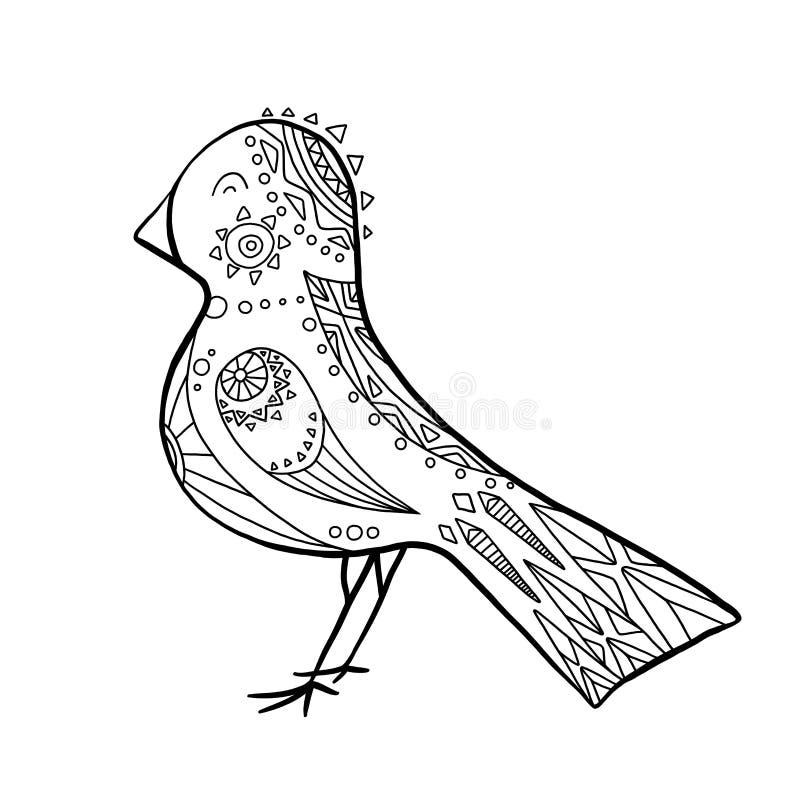 Pássaro bonito dos desenhos animados com teste padrão do boho Ilustração linear O objeto é separado do fundo Elemento da garatuja ilustração do vetor