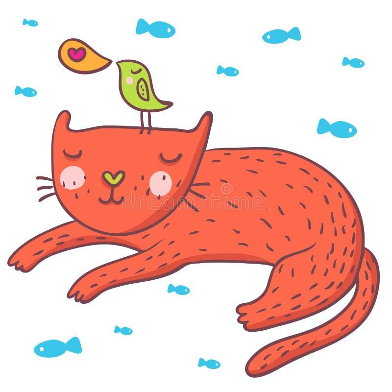 Pássaro bonito e gato dos desenhos animados ilustração stock