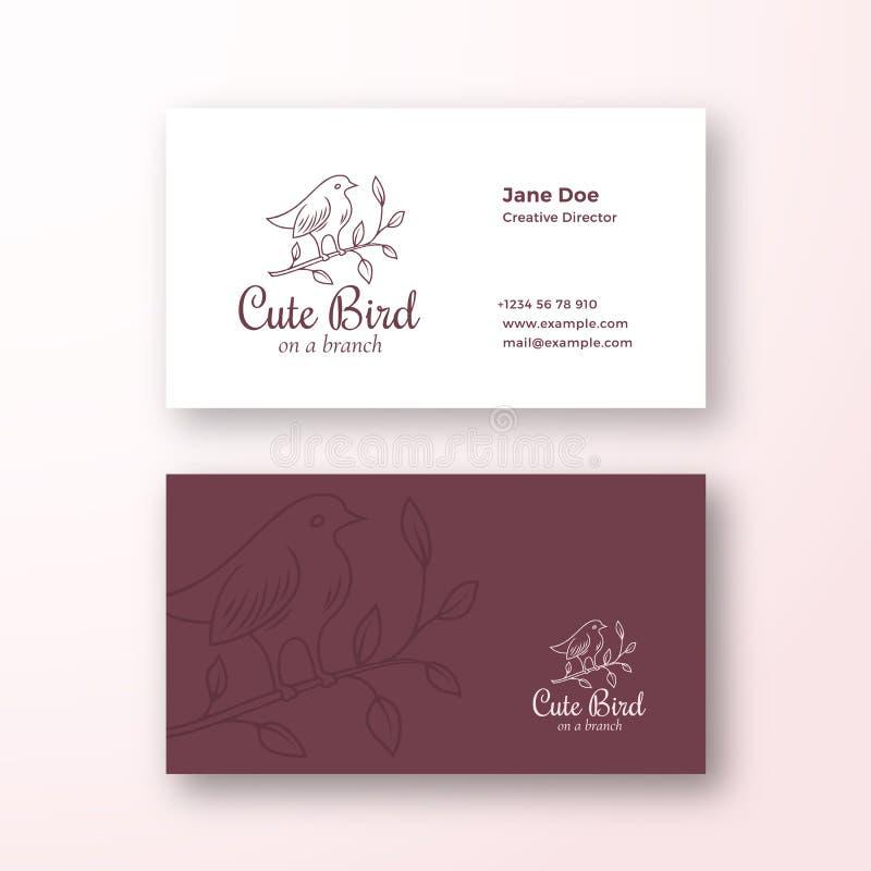 Pássaro bonito em uma filial Sinal do vetor da forma ou logotipo e molde abstratos do cartão Realístico estacionário superior ilustração do vetor