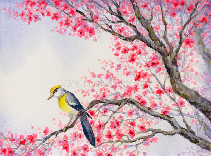 Pássaro bonito na filial de florescência Pintura da aguarela foto de stock