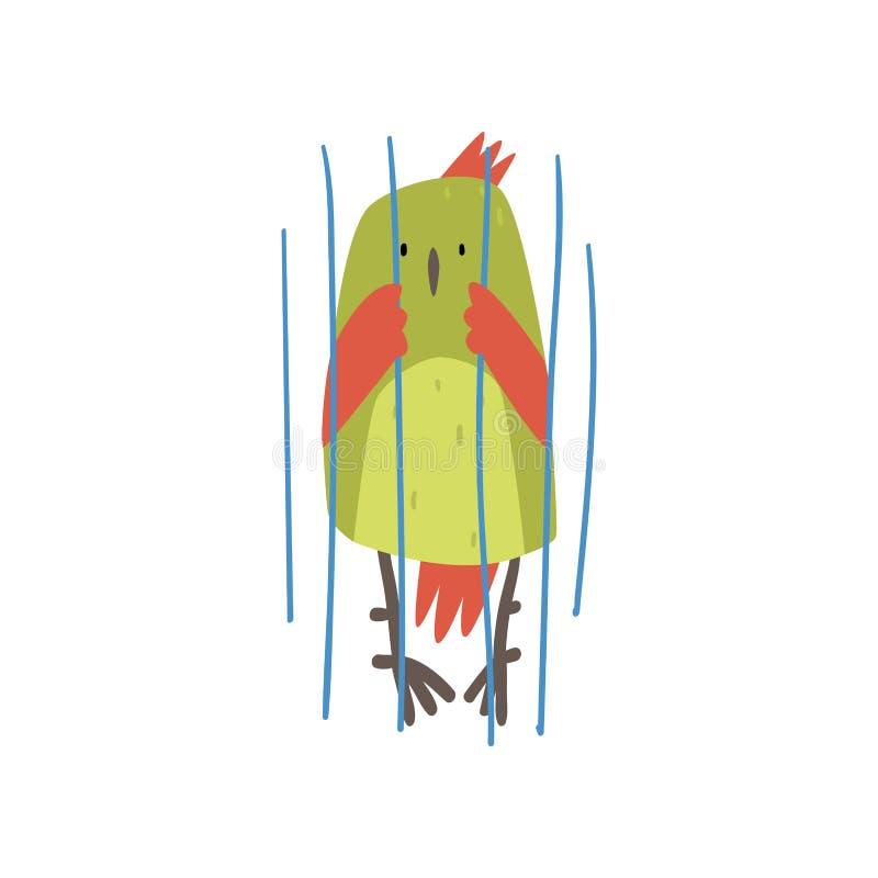 Pássaro bonito na gaiola, Birdie Cartoon Character engraçada com as penas verde-clara na ilustração do vetor do captiveiro ilustração do vetor