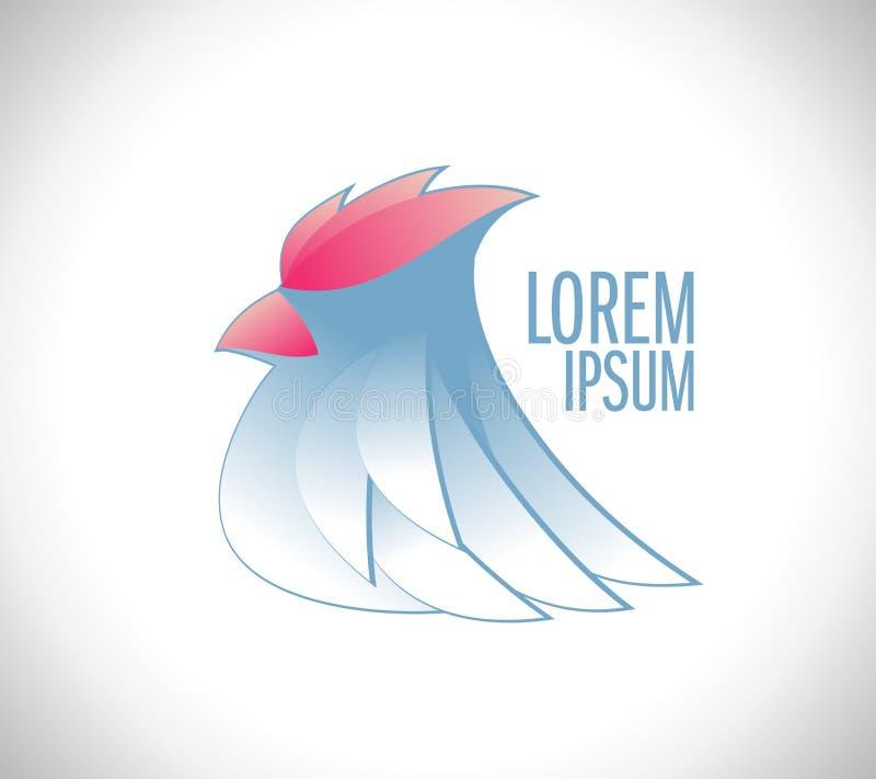 Pássaro branco com logotype vermelho do vetor da crista ilustração do vetor