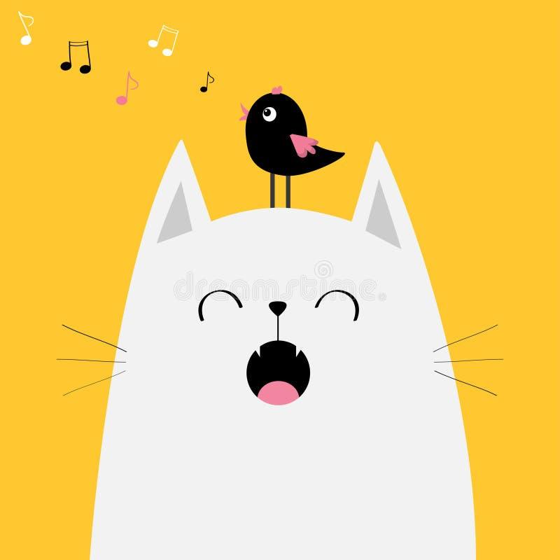 Pássaro branco da silhueta da cara do gato na cabeça Música miando do canto Voo da nota da música Caráter engraçado dos desenhos  ilustração stock