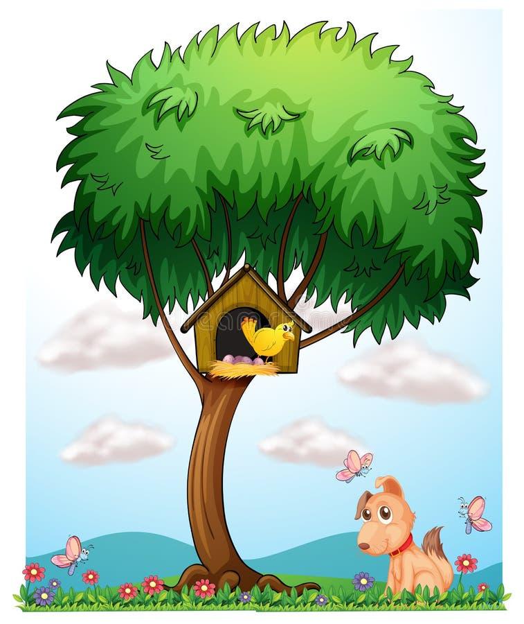 Pássaro, cão e borboletas ilustração do vetor
