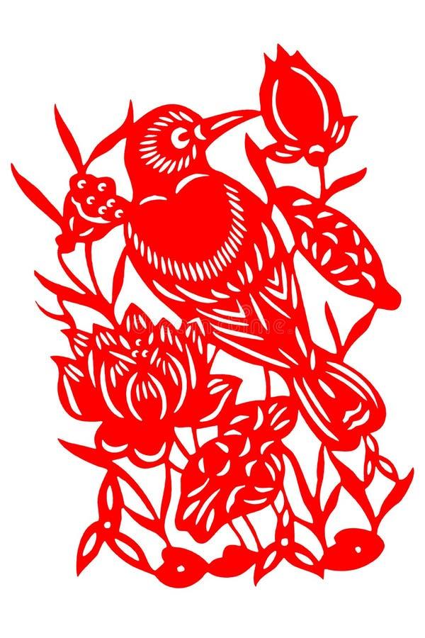 Pássaro chinês do papel-corte imagens de stock royalty free