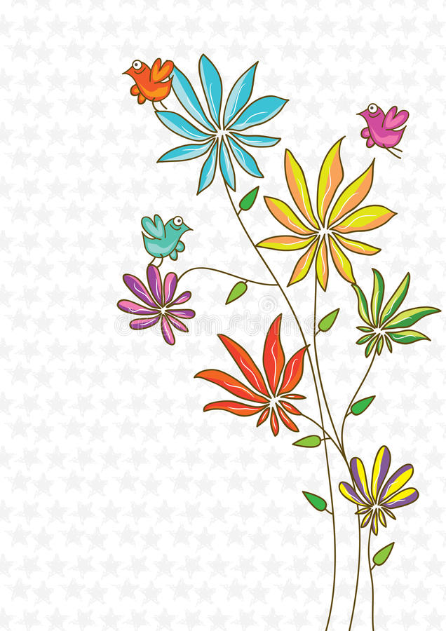 Pássaro colorido da flor do espaço ilustração royalty free