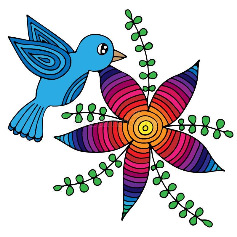 Pássaro colorido e flor abstrata com folhas ilustração do vetor