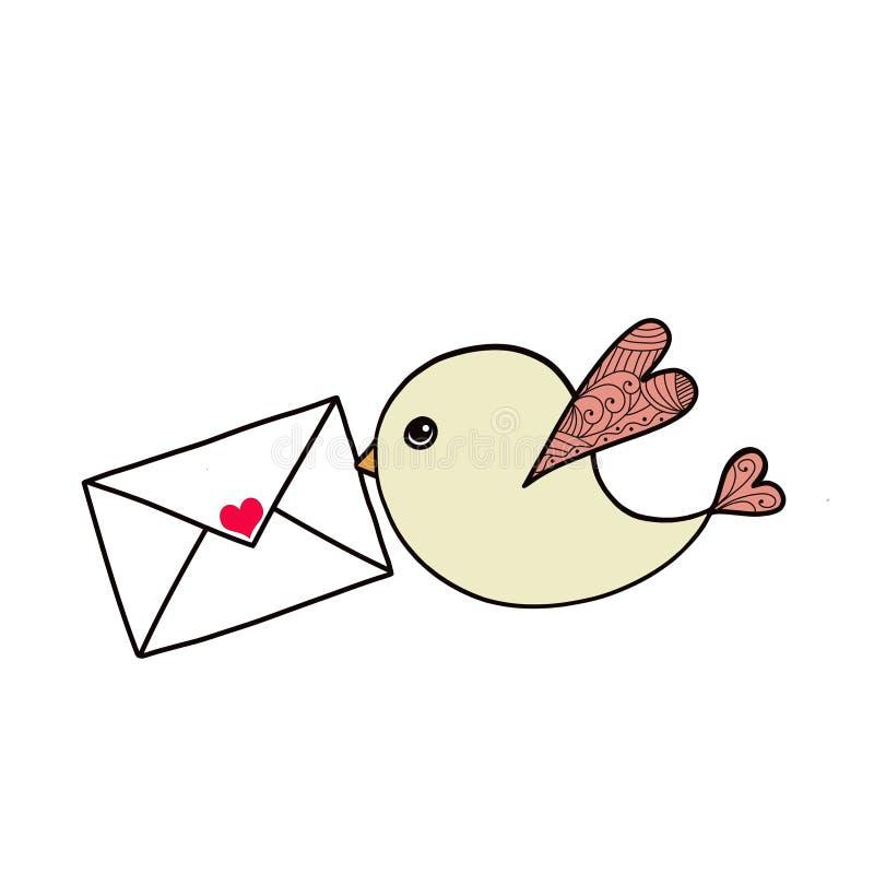 Pássaro com a carta de amor isolada no fundo branco ilustração royalty free