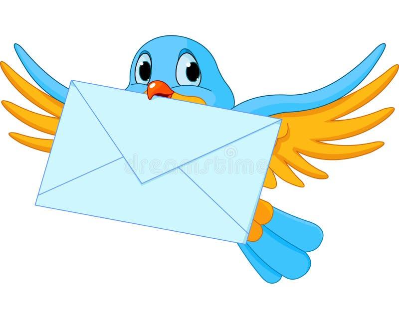 Pássaro com letra ilustração stock