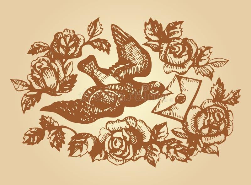 Pássaro com letra e flores de amor ilustração stock