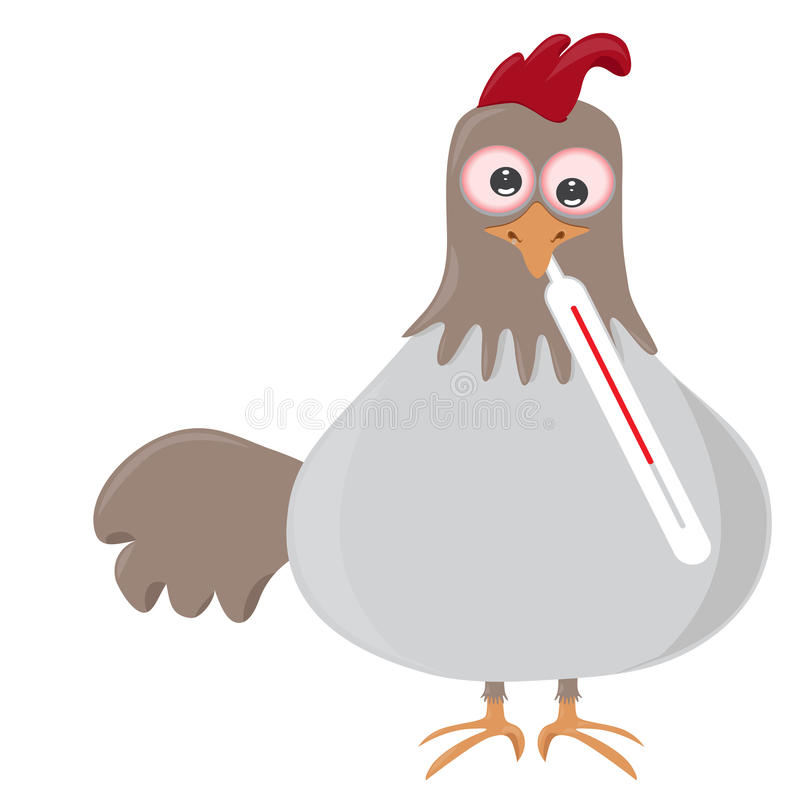 Pássaro com o therometer que está com a gripe ilustração stock