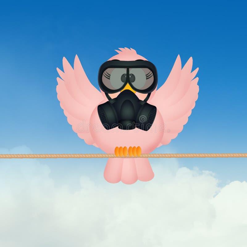 Pássaro com uma máscara de gás ilustração do vetor