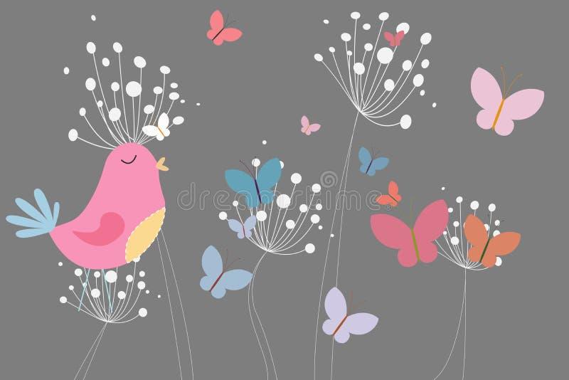 Pássaro cor-de-rosa com coração e dentes-de-leão ilustração stock