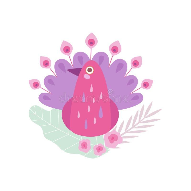 Pássaro cor-de-rosa do pavão, símbolo da ilustração do vetor da mola ilustração royalty free