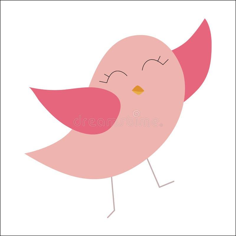 Pássaro cor-de-rosa feliz colorido do bebê do ícone etiquetas do molde, crachás ou ilustração royalty free