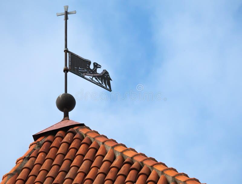 Pássaro da aleta de tempo do vintage no telhado vermelho imagem de stock royalty free