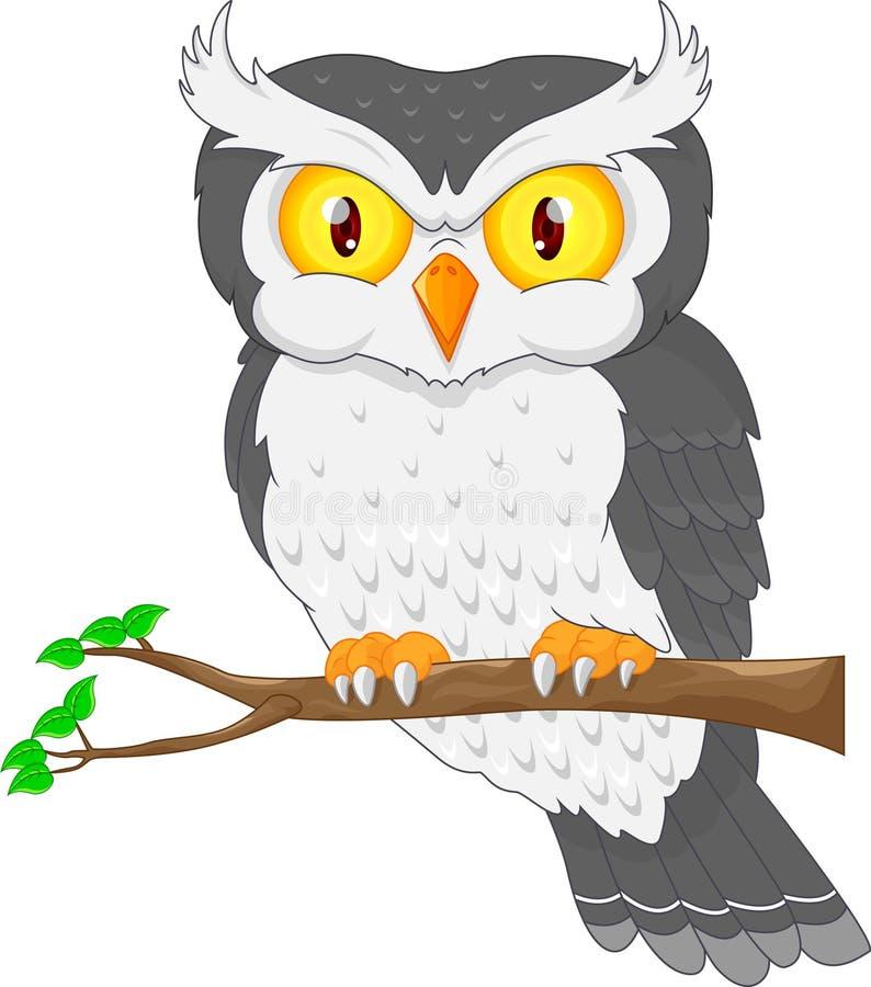 Pássaro da coruja dos desenhos animados que levanta na árvore ilustração do vetor