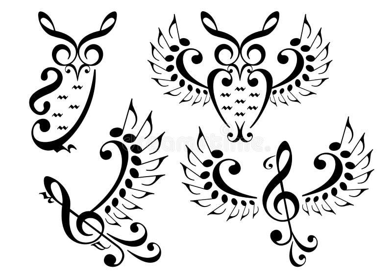 Pássaro da música e coruja, grupo do vetor ilustração do vetor