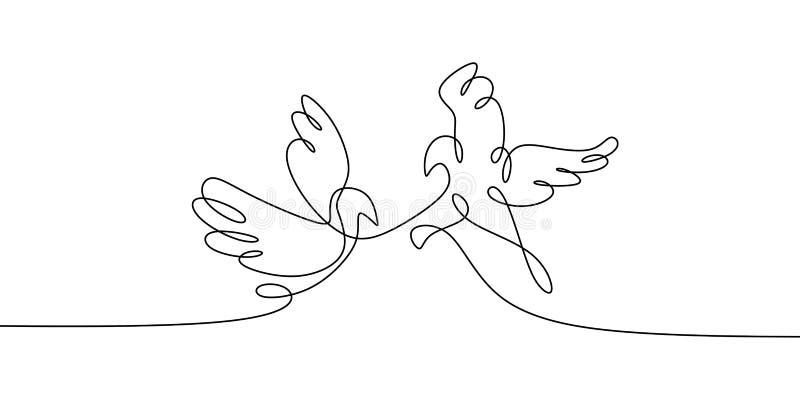 Pássaro da pomba Conceito de dois pássaros uma linha a lápis contínuo projeto minimalista da ilustração do vetor do desenho ilustração royalty free