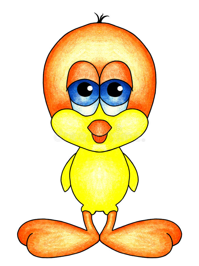 Pássaro de bebê com pés alaranjados grandes ilustração stock